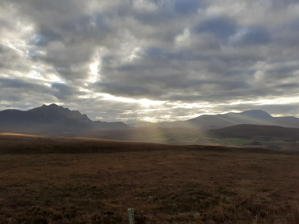 Crepuscular rays over the Scottish Highlands
